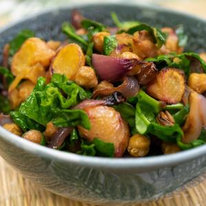 roast yam and red onion salad
